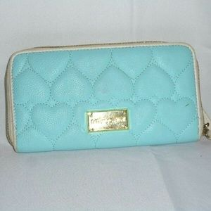 Betsey Johnson Blue Quilted Heart Wallet